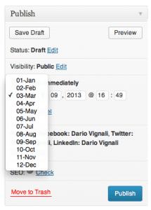 """Il """"famoso"""" box utile a modificare la data di pubblicazione dell'articolo."""