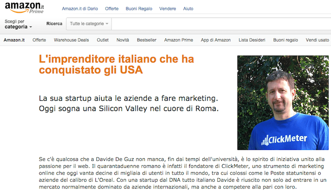 Gianluca fondatore del tracker clickmeter