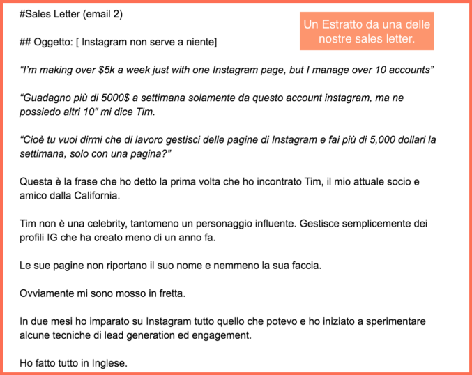 Sales letter per il funnel di instagram on fire